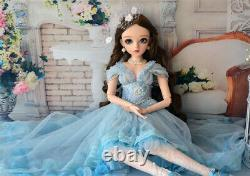BJD Doll 60cm 1/3 Pretty Girl Doll with Full Set Outfit Changeable Eyes Wigs Toy