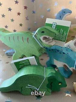 Complete Full Set 13 Holztiger Dinosaurs Wooden Toys Christmas Gift