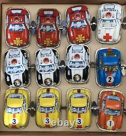 Full Set of 12 Wind up Tin Toy Mini Cars by DBS Germany in Box Collectors Toys
