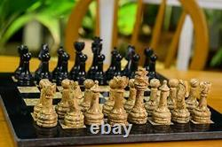 Handmade Black and Coral Full Marble Chess Board Game Set Staunton Marble