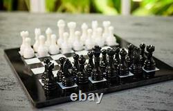 Handmade Black and White Full Marble Chess Board Game Set Staunton Marble