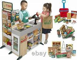 Melissa & Doug Supermarket Store Food Play Set Cash Shopping Trolley Toys