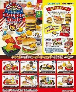 Re-ment Sanrio Gudetama Burger Shop miniature toy 8pc Full set JAPAN NEW