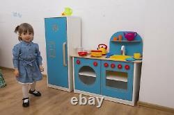Toy Kitchen Pretend Childrens Kids Wooden Kitchen Fridge Microwave Oven Dishwash