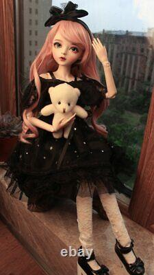 1/3 Bjd Doll 60cm Girl Doll With Amovable Eyes Wigs Clothes Full Set Outfit Toy