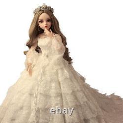 60cm 1/3 Bjd Ball Jointed Doll Bride Robe De Mariée Maquillage Visage Ensemble Complet Xmas Jouet