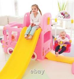 Hello Kitty 3-en-1 Bus Full Set Clime - Slide Avec Swing Kids Toy Indoor/outdoor