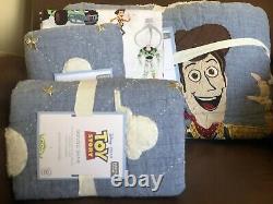 Pottery Barn Kids Disney Toy Story Fq Quilt 2 Shams & Full Sheets 7 Pc Set Nouveau
