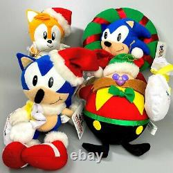 Très Rare 1994 Sega Sonic Le Hedgehog X Mas Ensemble Complet 4 Jouet De Poupée En Peluche De Noël